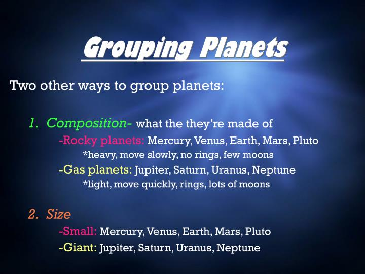 Grouping Planets