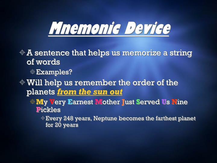 Mnemonic Device