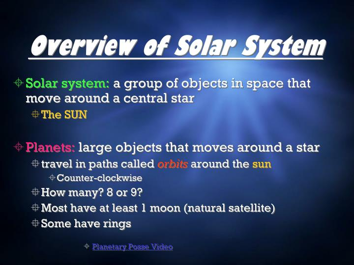 Overview of solar system