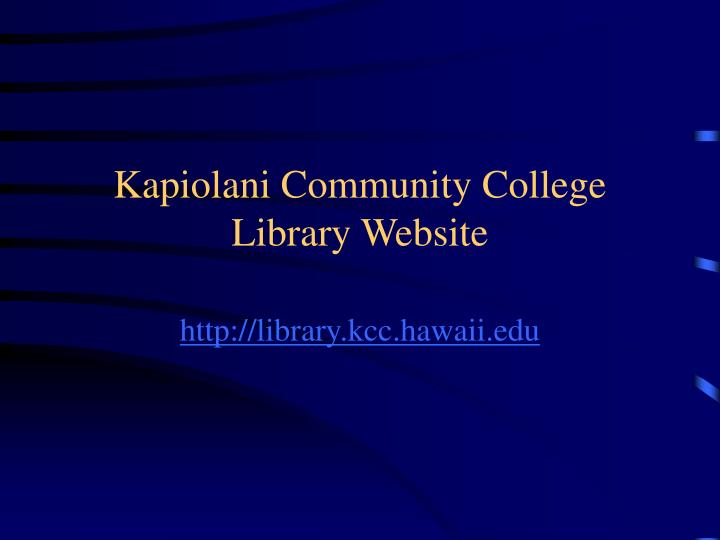 Kapiolani Community College Library Website