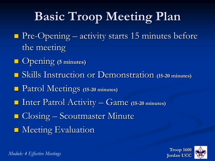 Basic Troop Meeting Plan