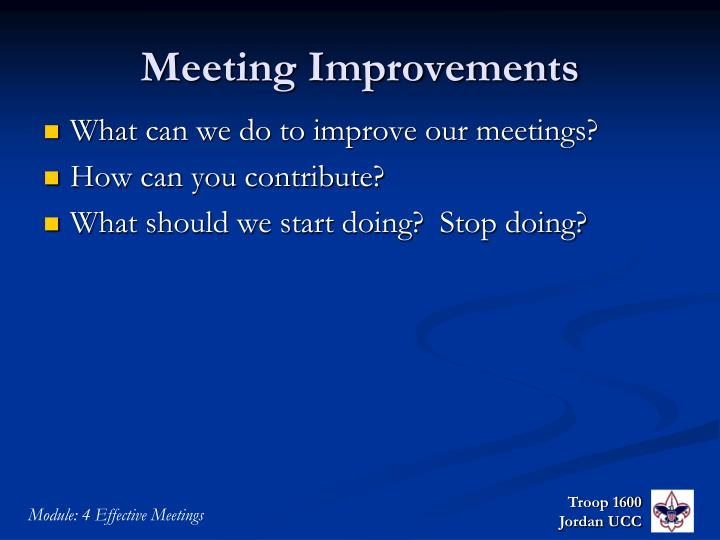 Meeting Improvements