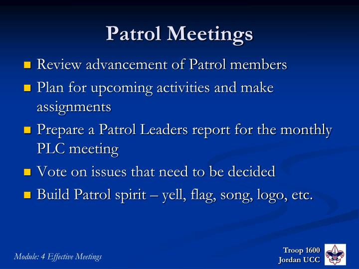 Patrol Meetings
