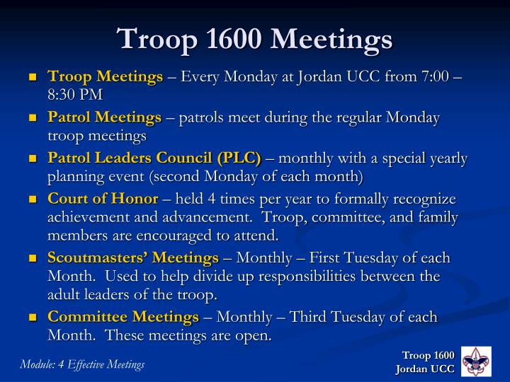 Troop 1600 Meetings