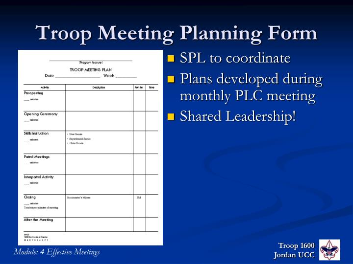 Troop Meeting Planning Form