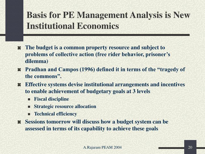 Basis for PE Management Analysis is New Institutional Economics