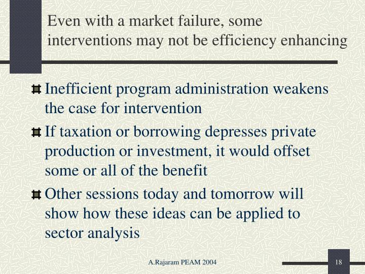Even with a market failure, some interventions may not be efficiency enhancing