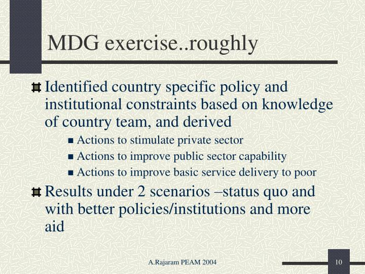 MDG exercise..roughly