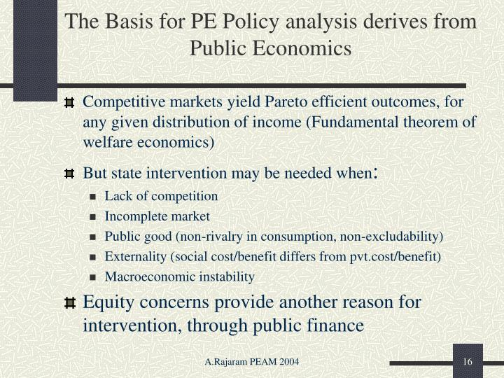 The Basis for PE Policy analysis derives from