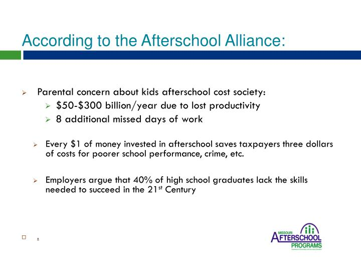 According to the Afterschool Alliance: