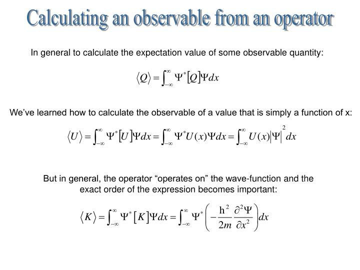 Calculating an observable from an operator