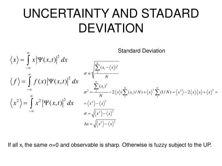 UNCERTAINTY AND STADARD DEVIATION