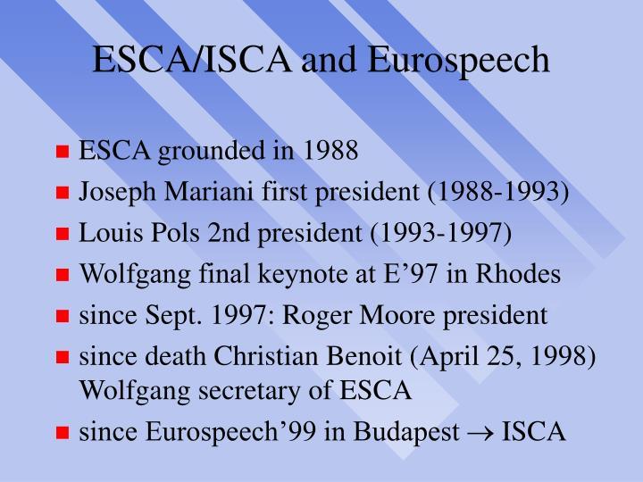 ESCA/ISCA and Eurospeech