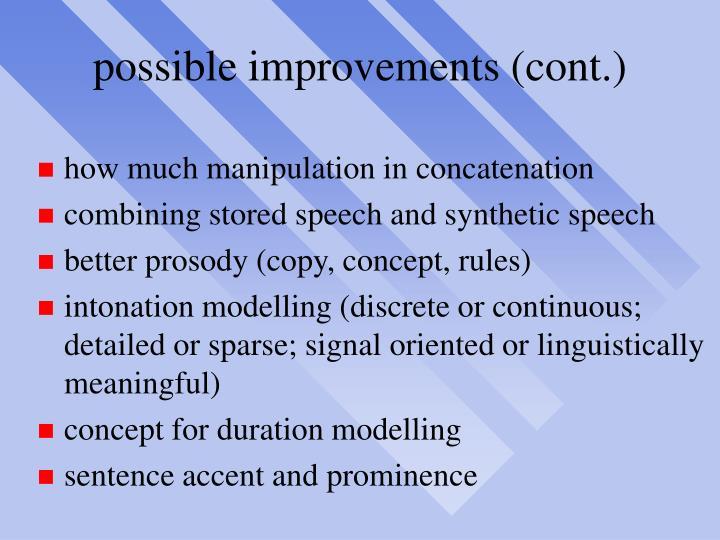 possible improvements (cont.)