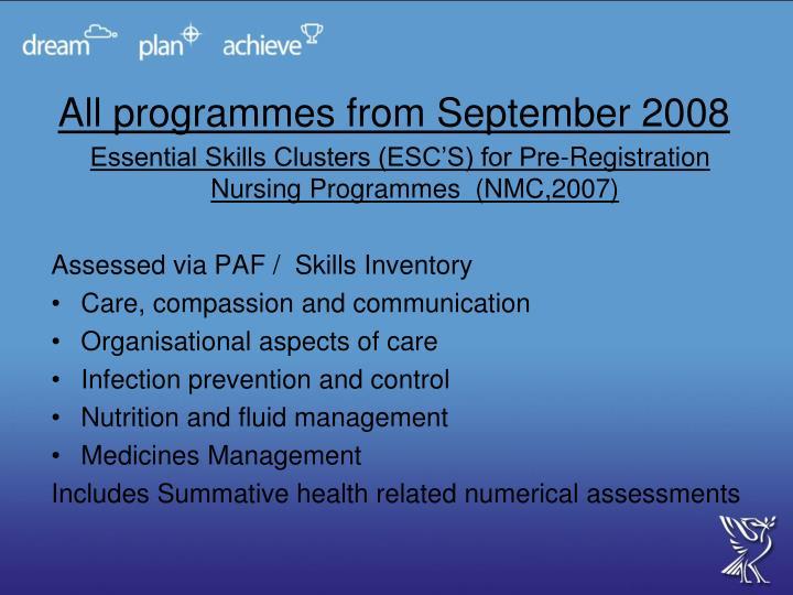 All programmes from September 2008