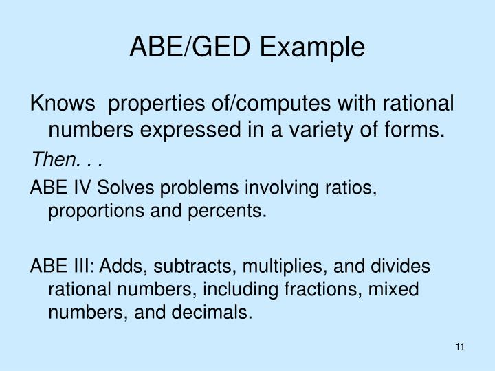 ABE/GED Example