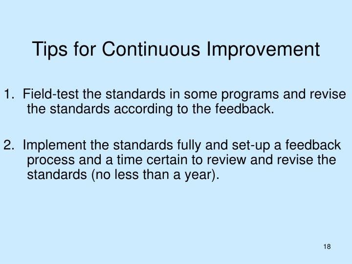 Tips for Continuous Improvement