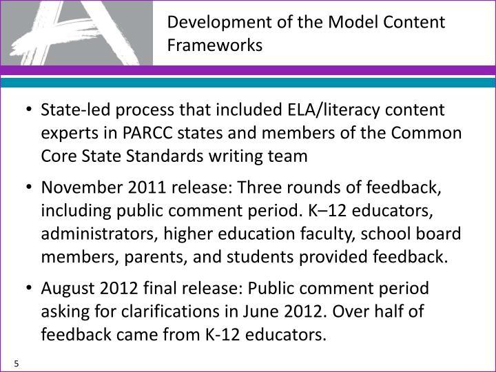 Development of the Model Content Frameworks