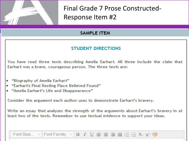 Final Grade 7 Prose Constructed-Response Item #2