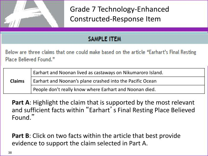 Grade 7 Technology-Enhanced Constructed-Response Item