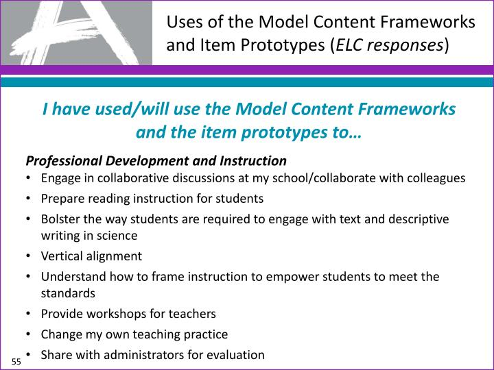 Uses of the Model Content Frameworks and Item Prototypes (