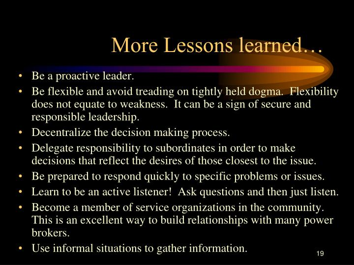 More Lessons learned…