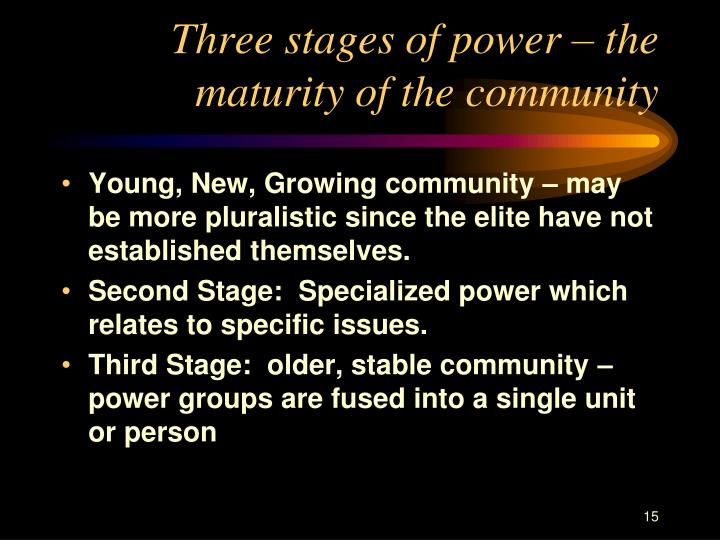 Three stages of power – the maturity of the community
