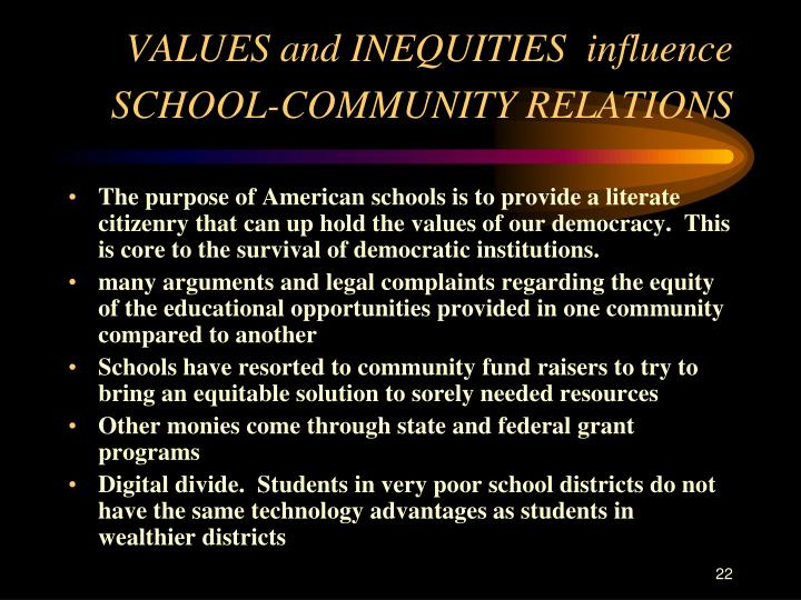 VALUES and INEQUITIES  influence SCHOOL-COMMUNITY RELATIONS