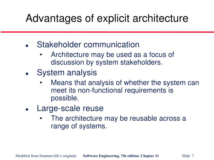 Advantages of explicit architecture