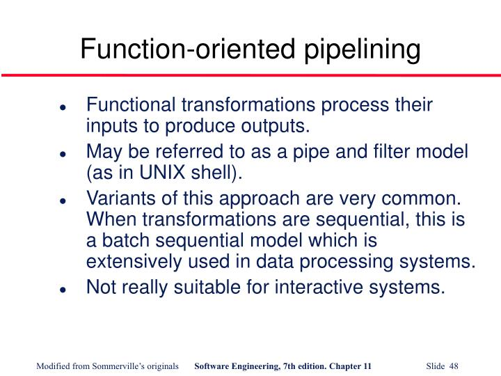 Function-oriented pipelining