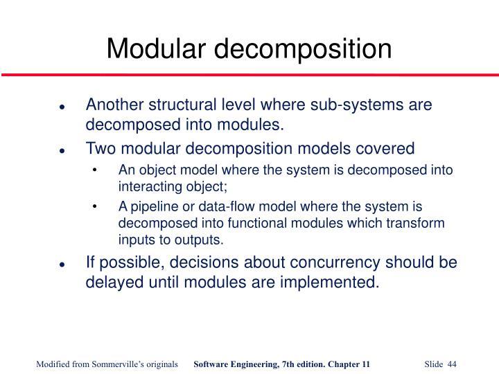 Modular decomposition