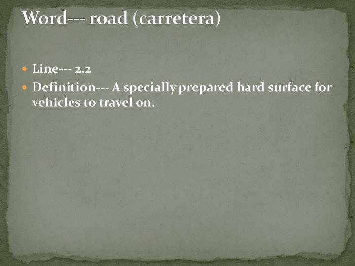 Word--- road (