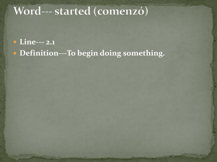 Word--- started (