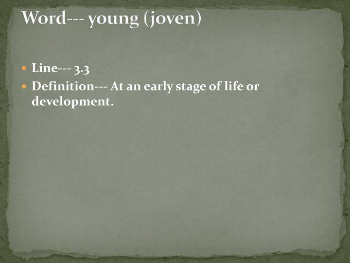 Word--- young (