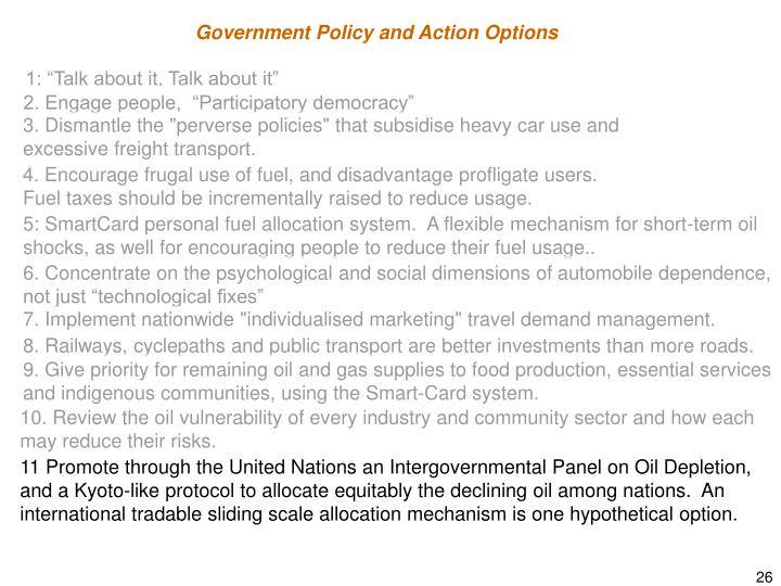 Government Policy and Action Options