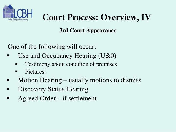 Court Process: Overview, IV