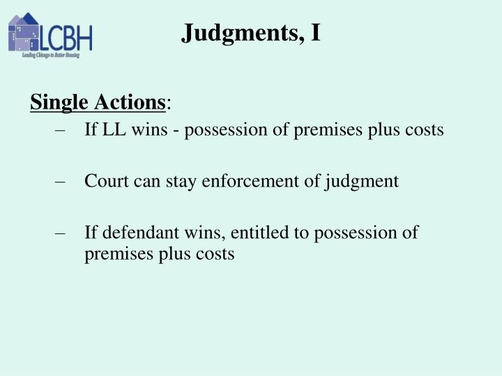 Judgments, I