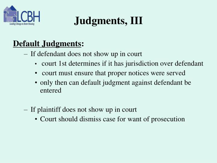 Judgments, III