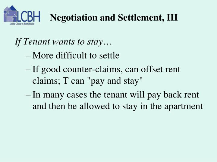 Negotiation and Settlement, III