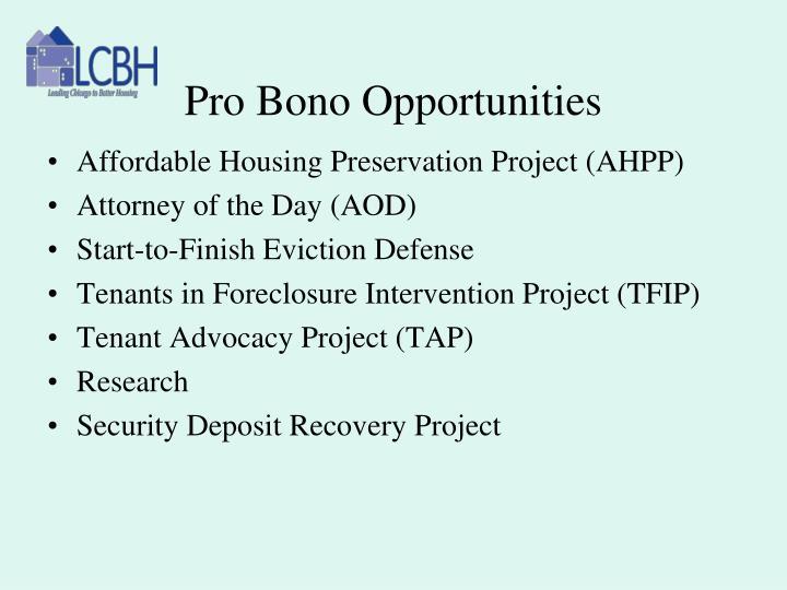 Pro Bono Opportunities