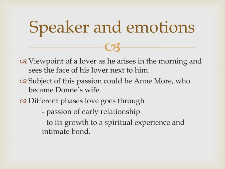 Speaker and emotions