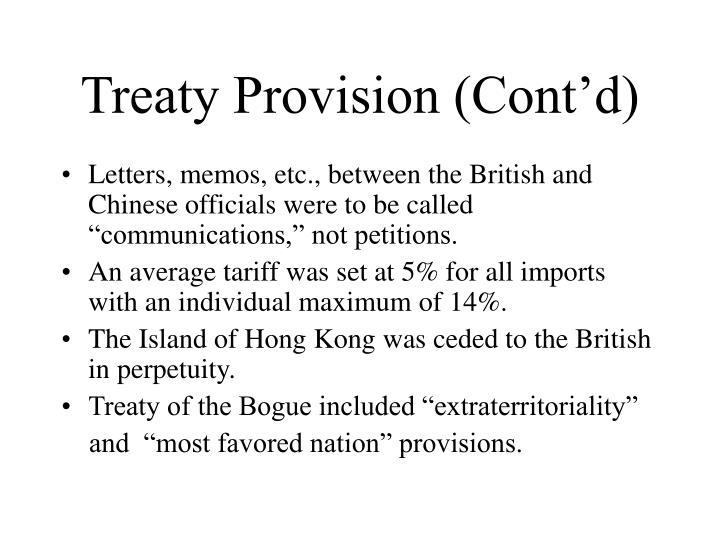Treaty Provision (Cont'd)