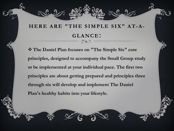 "Here are ""The Simple Six"" at-a-glance"