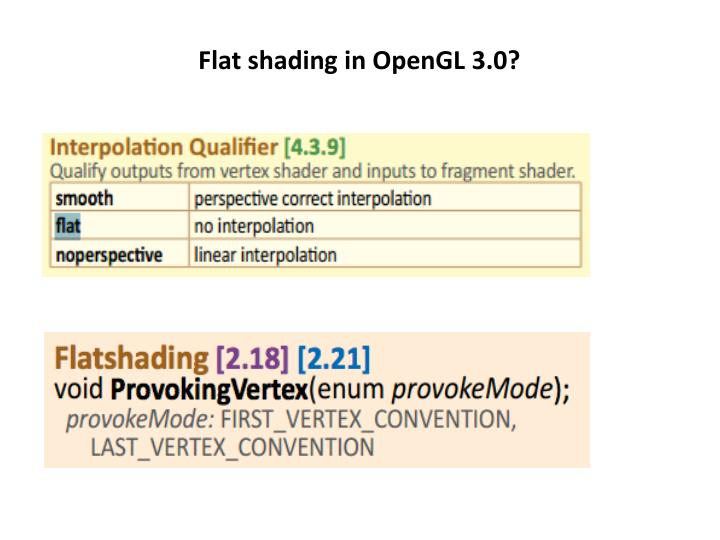 Flat shading in OpenGL 3.0?