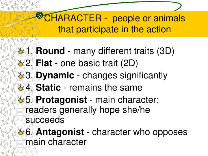 CHARACTER -  people or animals