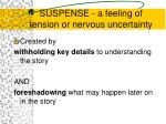 suspense a feeling of tension or nervous uncertainty