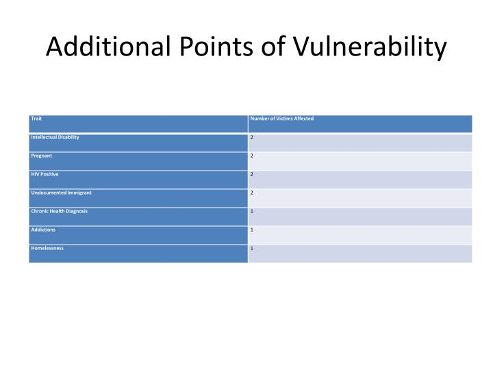 Additional Points of Vulnerability