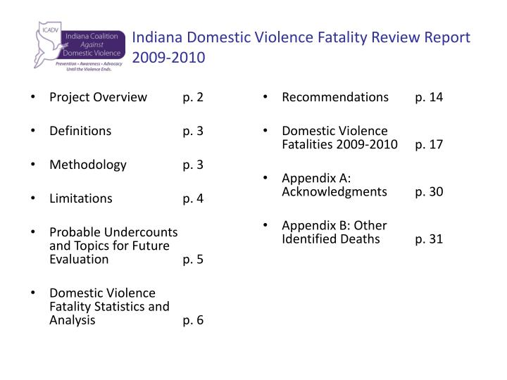 Indiana domestic violence fatality review report 2009 2010