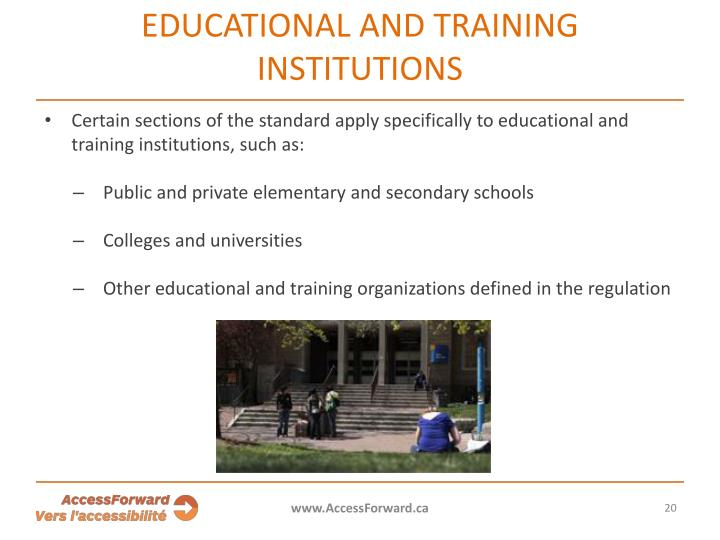 Educational and training institutions