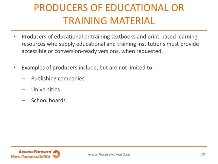 Producers of educational or